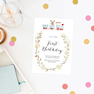 Watercolour Kids Birthday Invitations Train Rabbit Bunny Floral Wreath First birthday kids birthday invites australia perth canberra sydney brisbane melbourne sail and swan