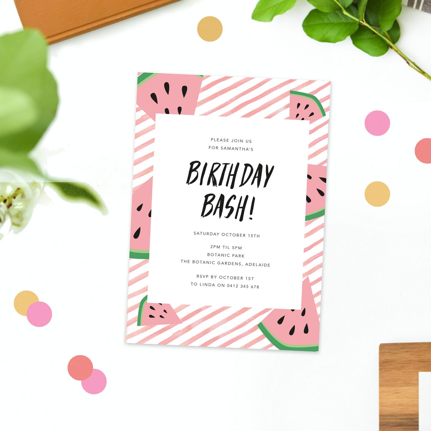 Kids Tropical Watermelon Birthday Invitations Pink Fruit Summer