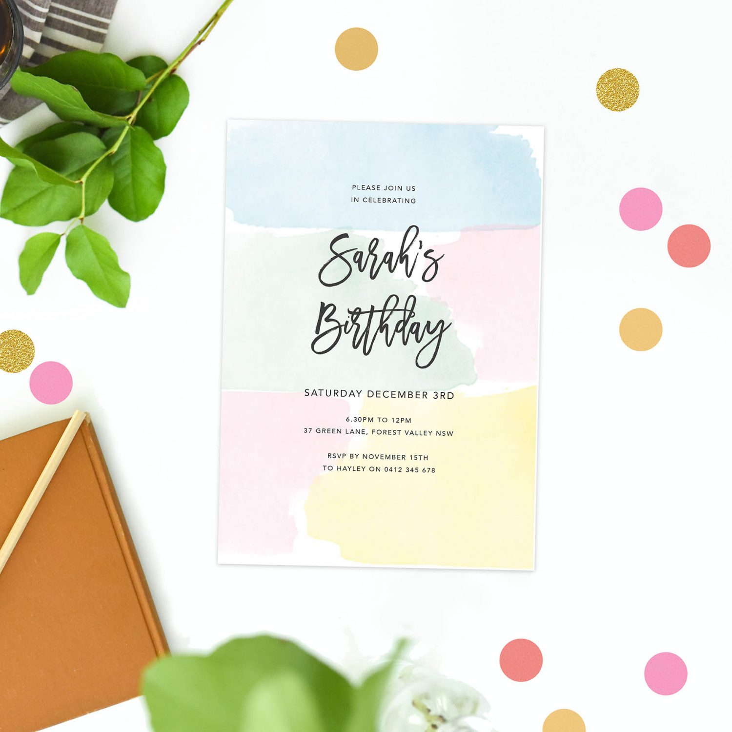 Pastel Birthday Invitations Calligraphy Script Yellow Pink Blue Green