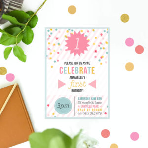 Mint Pink Confetti Kids Birthday Invitations Stripes Dots Kids Birthday Invites Australia Perth Melbourne Sydney Brisbane Canberra Sail and Swan