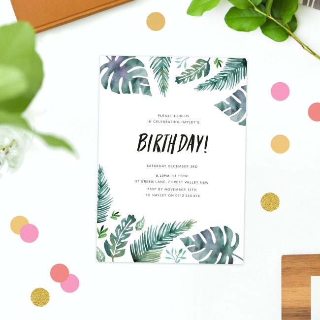 tropical leaf birthday invitations watercolour green monstera leaves ferns birthday invites australia sydney perth brisbane melbourne canberra sail and swan