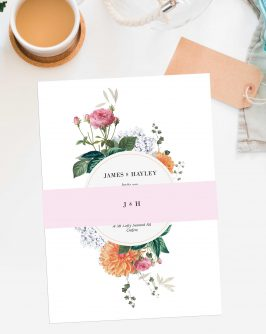 Vintage Botanical Wedding Floral pink peach Wedding Invitations Australia Wedding Stationery Perth Sydney Brisbane Melbourne Sail and Swan