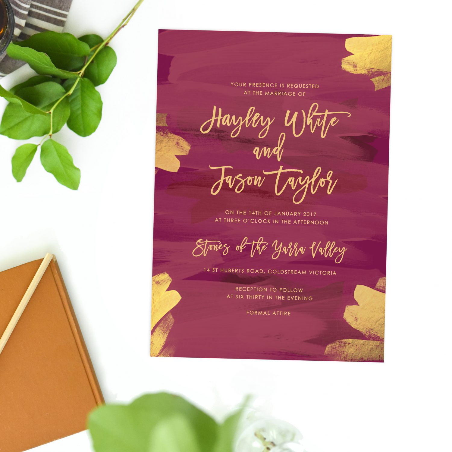 Plum and Gold Burgundy Wedding Invitations Famous