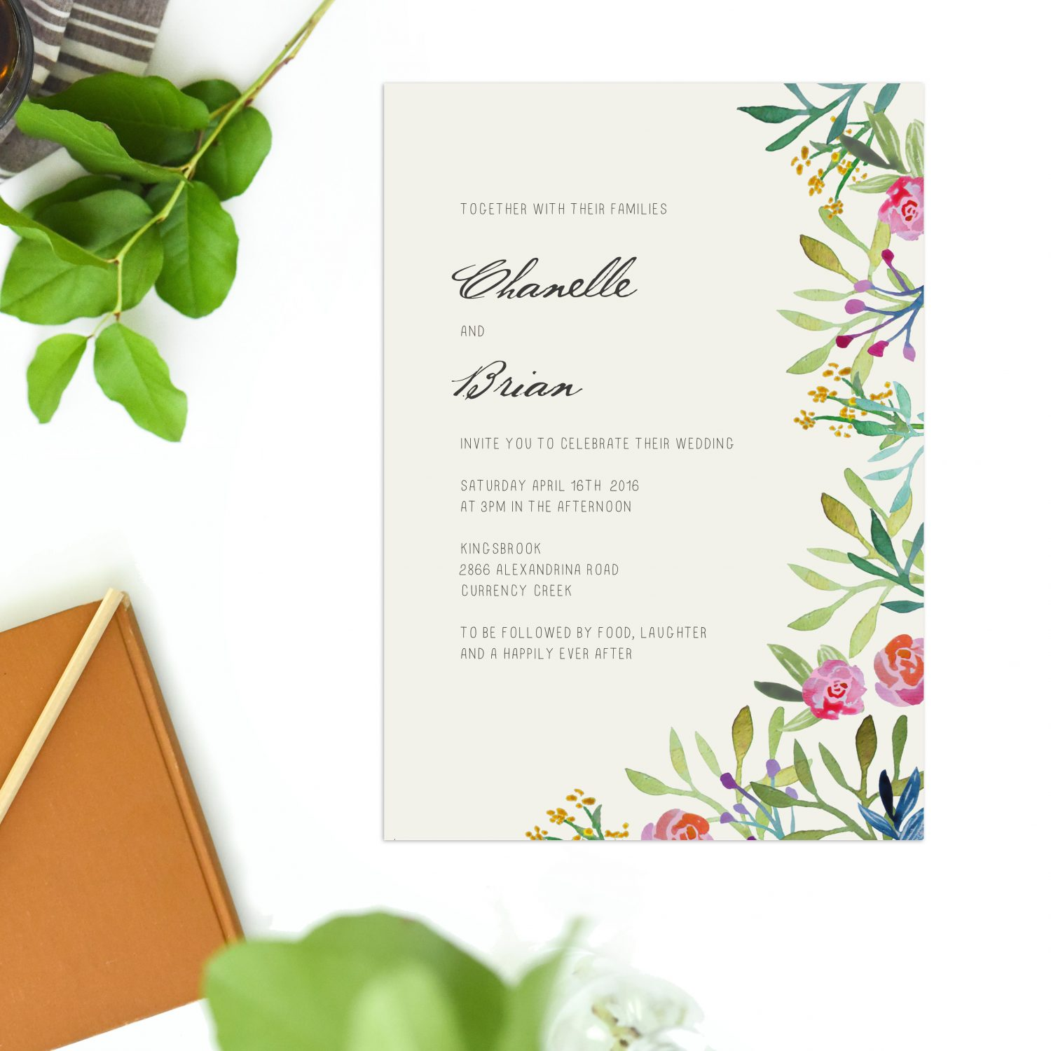 Watercolour Floral Wedding Invitations Forest Sail and Swan