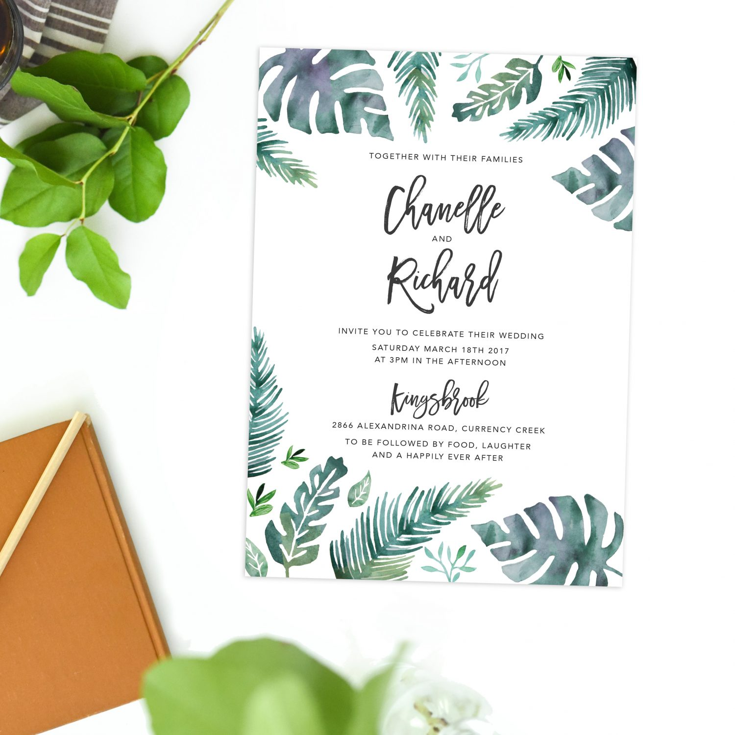 Tropical Wedding Invitations Monstera Leaves Sail and Swan