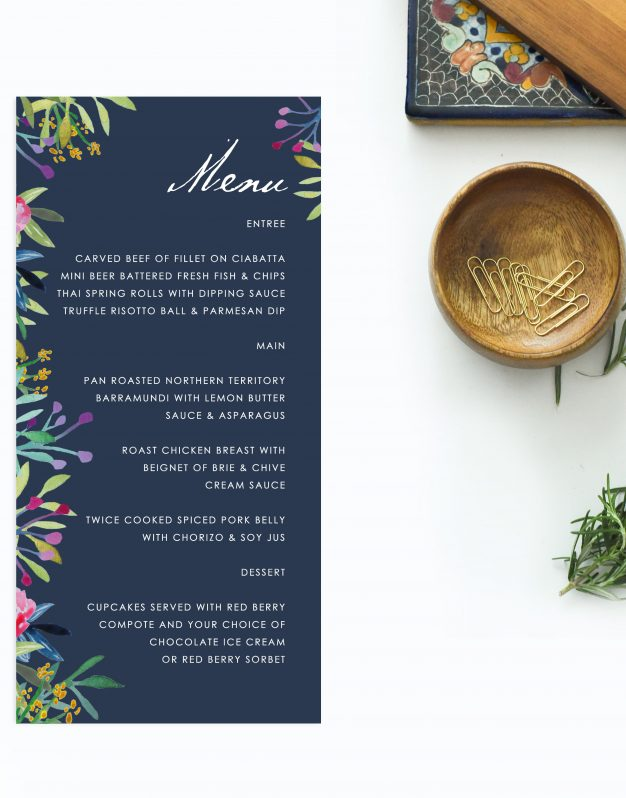 Floral Navy Wedding Invitations Wedding Stationery Australia Perth Sydney Melbourne Brisbane Adelaide Sail and Swan
