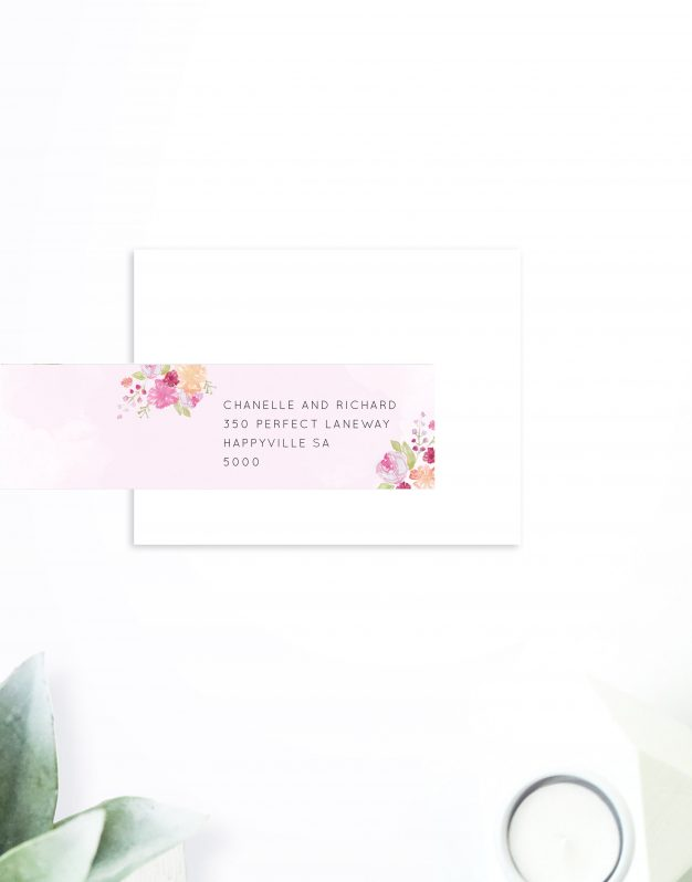Pastel Floral Wedding Invitations Watercolour Pink Flowers Wedding Invites Australia Perth sydney Brisbane Melbourne Adelaide Sail and Swan