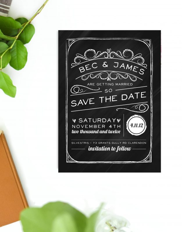 Chalkboard Wedding Invitations Rustic Black White Wedding Stationery Australia Perth Sydney Melbourne Adelaide Sail and Swan