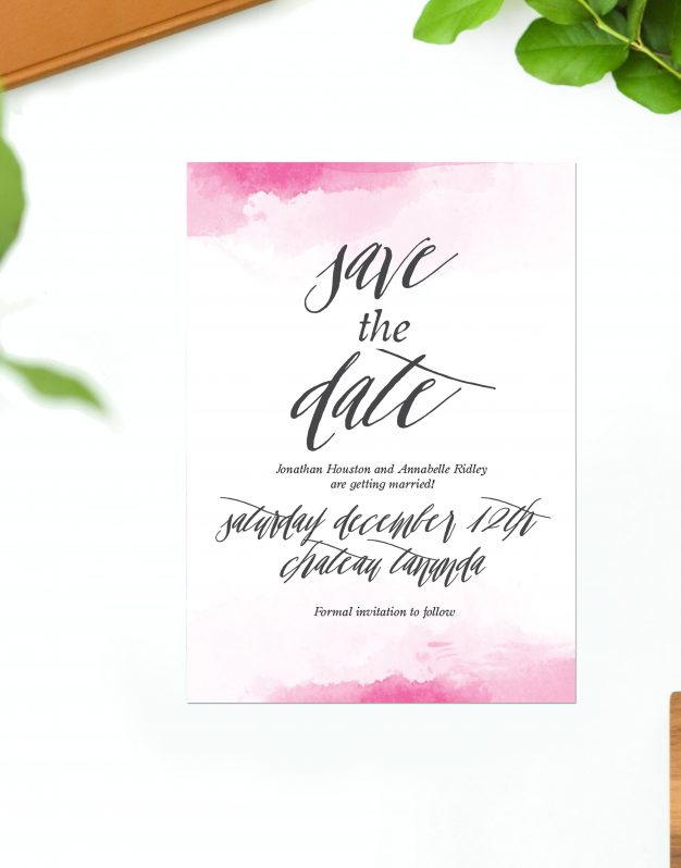 Pink Watercolour Wedding Invitations Calligraphy Wedding Invites Australia perth sydney melbourne brisbane adelaide sail and swan