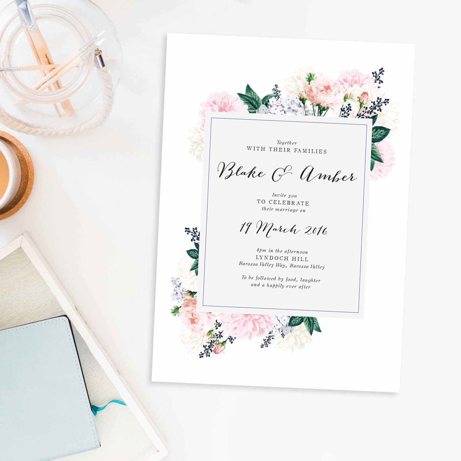 Pastel Floral Wedding Invitations Berries Sail and Swan