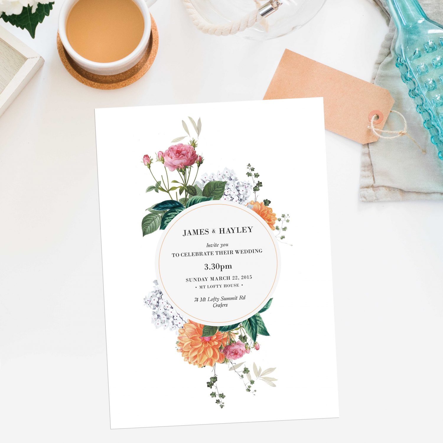 Vintage Botanical Wedding Invitations Sail and Swan