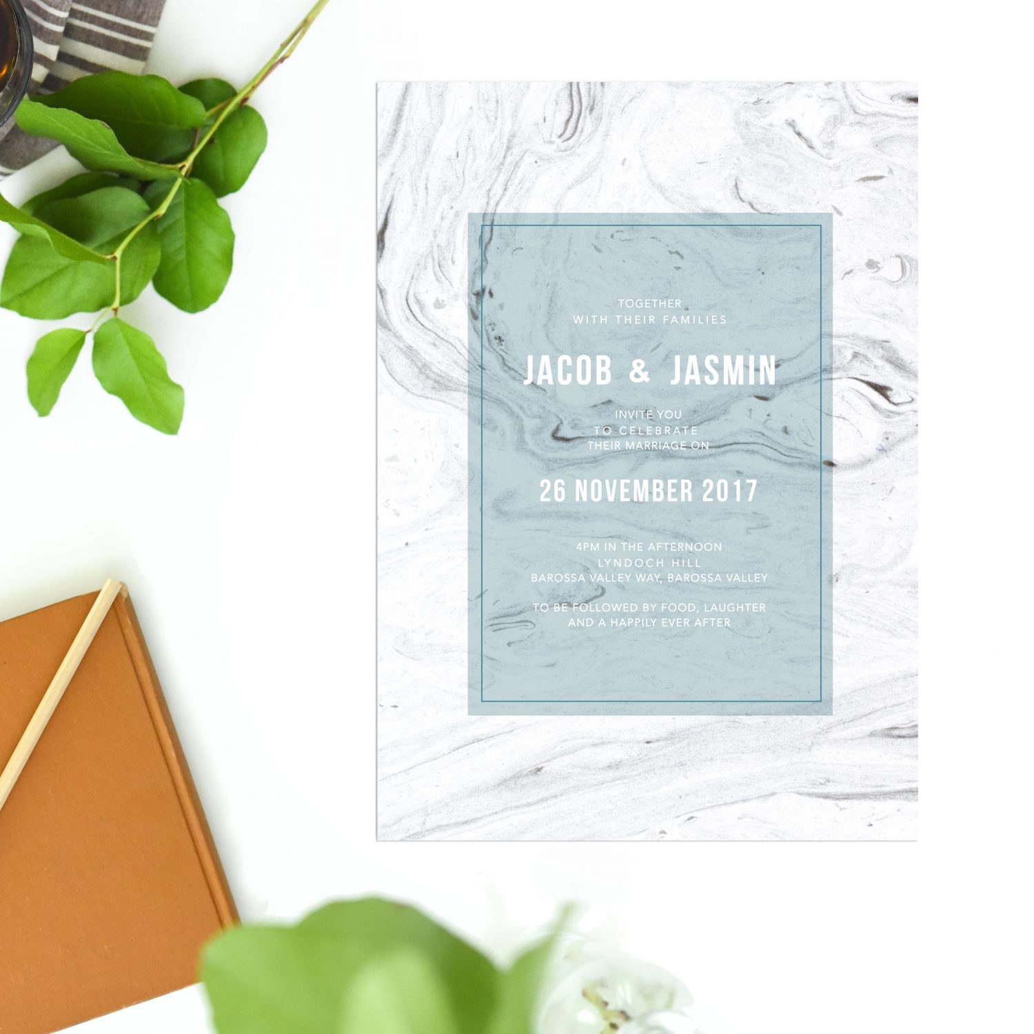 Grey Marble Wedding Invitations Blue Turquoise Sail and Swan