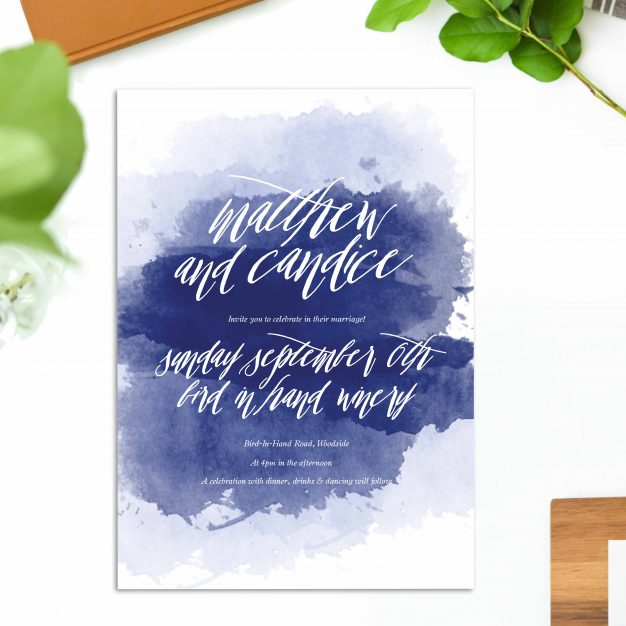 Navy Blue Watercolour Wedding Invitations calligraphy wedding stationery australia beach ocean wedding perth sydney melbourne brisbane adelaide sail and swan