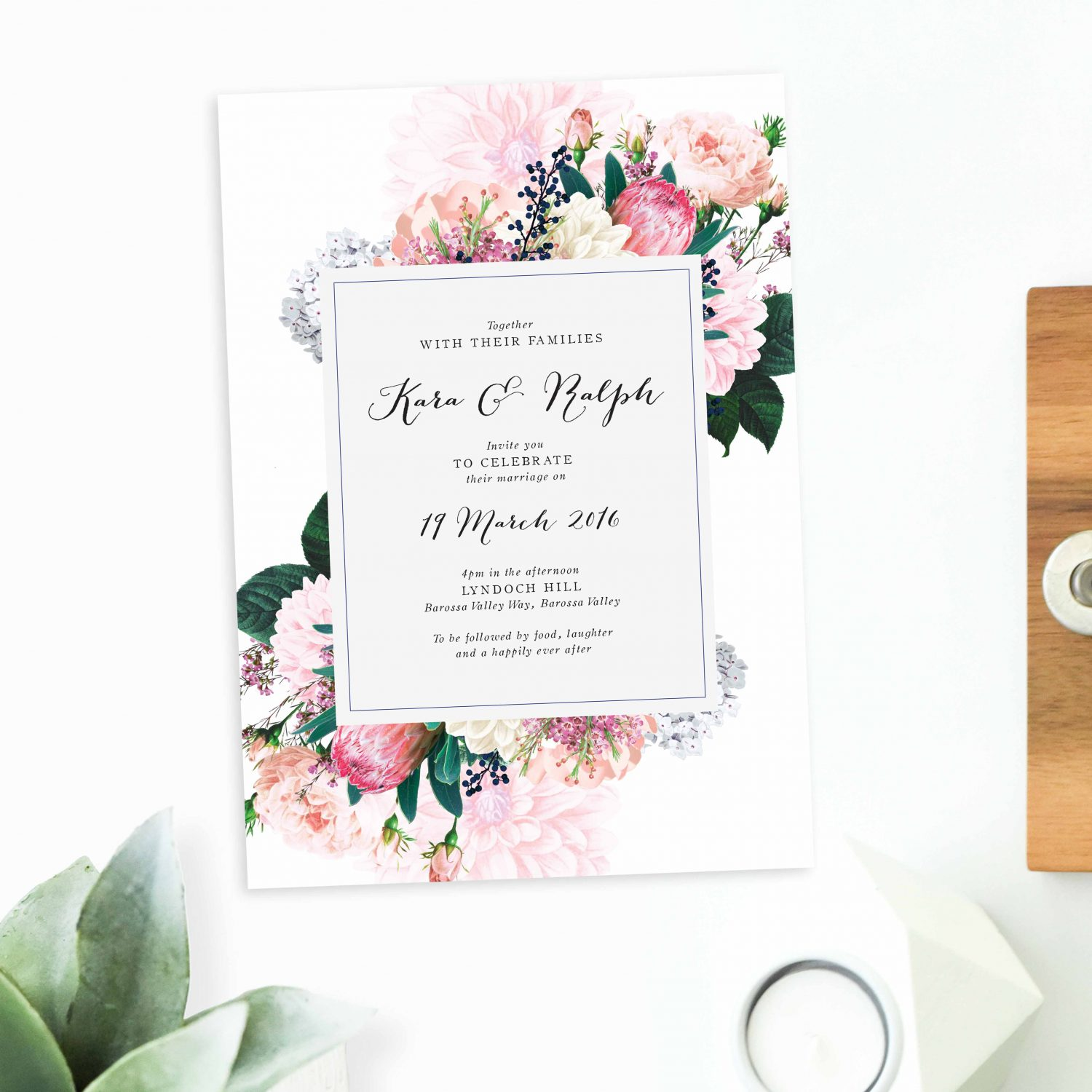 Native Fl Wedding Invitations Protea Pink Blush Rose Stationery Australia Invites Perth Sydney Melbourne Brisbane