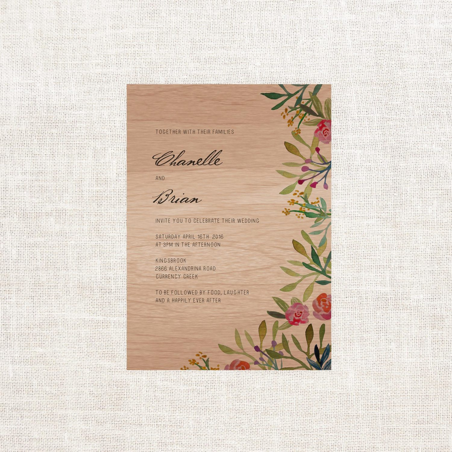 Forest Watercolour Wooden Wedding Invitations Sail and Swan Studio