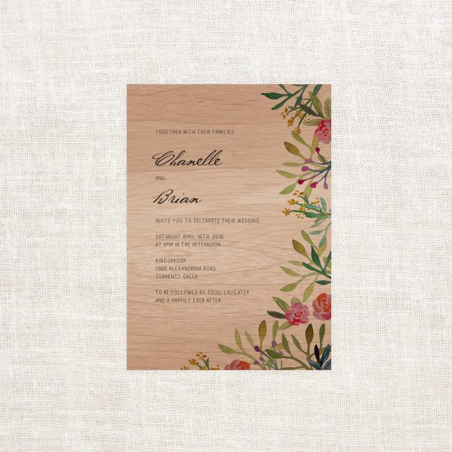 Forest Watercolour Wooden Wedding Invitations Wood Grain Floral Botanical Illustration Custom Wedding Stationery Australia Pinks Greens Berries Garden