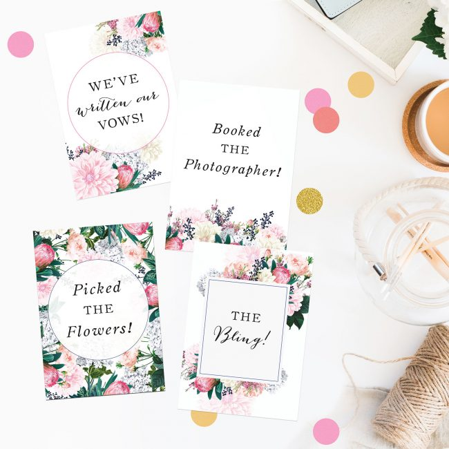 Pretty Protea Wedding Milestone Cards Florals Botanicals Pink Berries Garden Wedding Bouquet Wedding Inspiration Wedding Ideas Sail and Swan Wedding Planning Milestones Bride to Be Gift Wedding Preparation Engagement Gifts