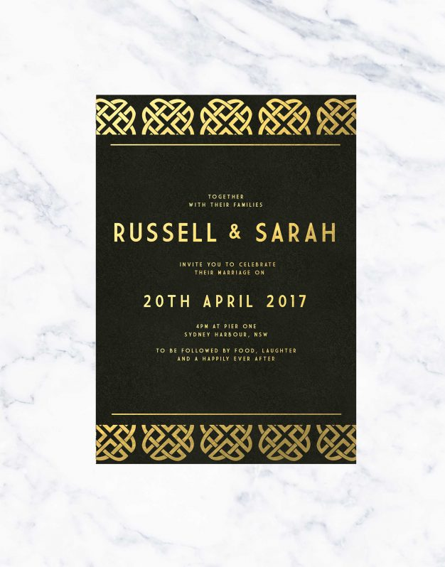 Art Deco Black & Gold Foil Wedding Invitations Australia Custom Wedding Foil Invites