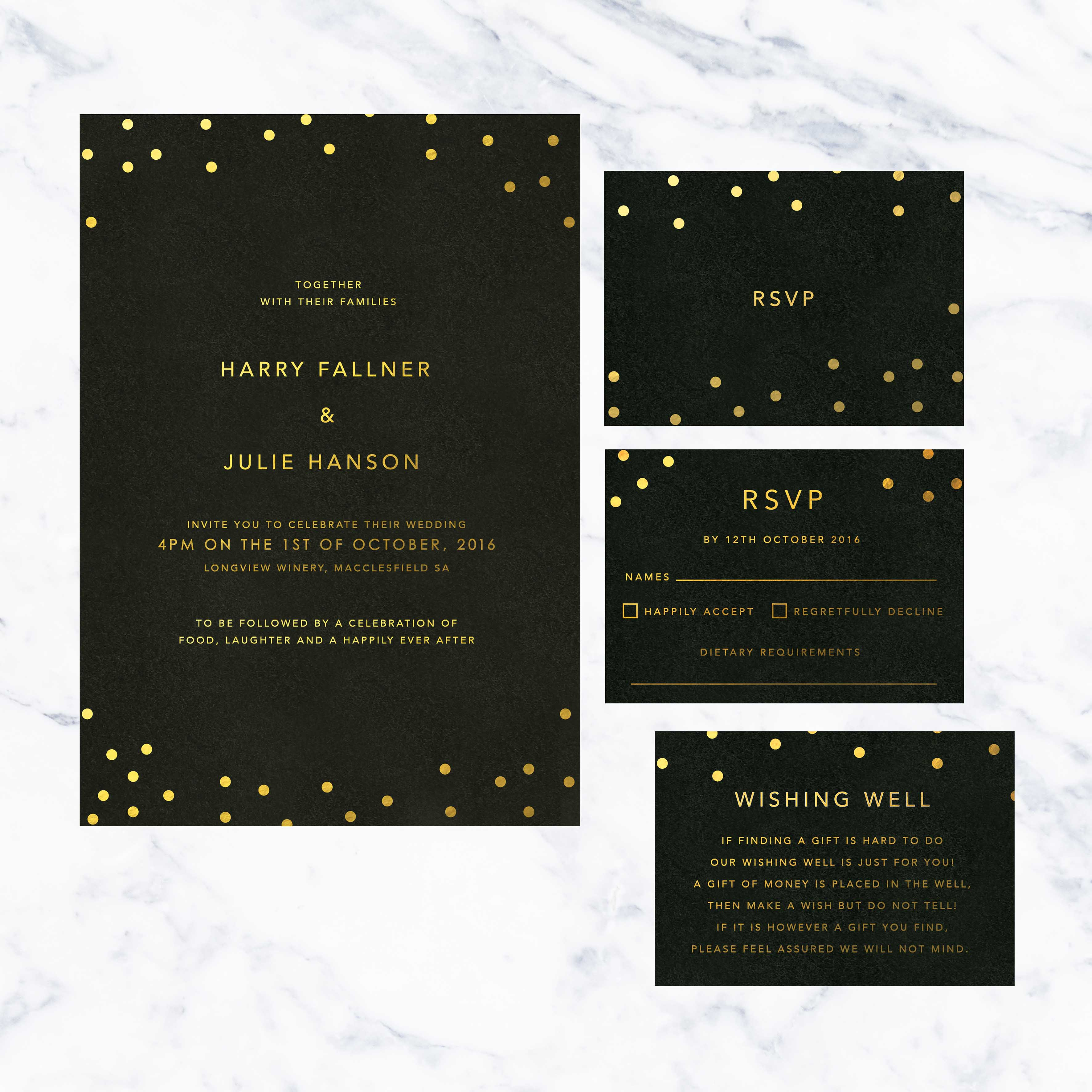 Black And Gold Foil Confetti Wedding Invitations Sail And Swan