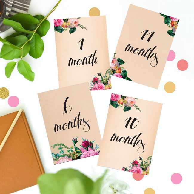 Love Letters Wedding Countdown Milestone Cards Roses Vintage Pink Beige Florals Botanical Natural Garden Wedding Wedding Inspiration Wedding Ideas Sail and Swan Wedding Planning Milestones Bride to Be Gift Wedding Preparation Engagement Gifts