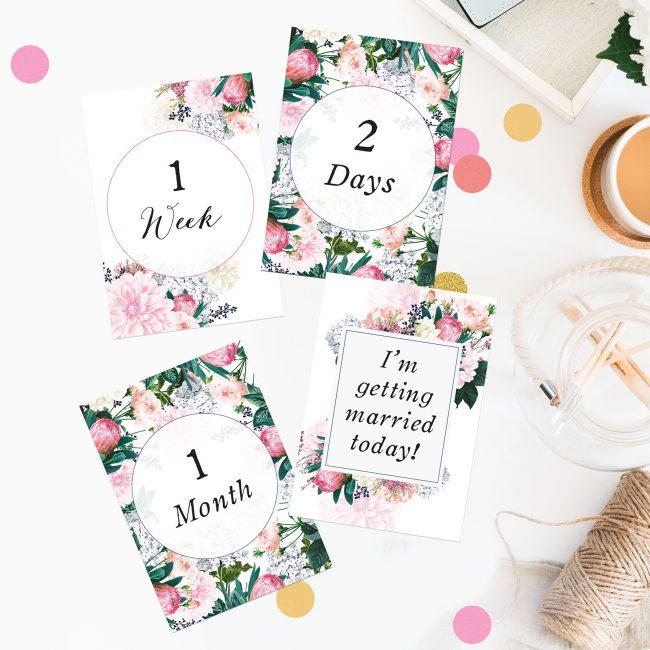 Pretty Protea Wedding Countdown Milestone Cards Florals Botanicals Pink Berries Garden Wedding Bouquet Wedding Inspiration Wedding Ideas Sail and Swan Wedding Planning Milestones Bride to Be Gift Wedding Preparation Engagement Gifts