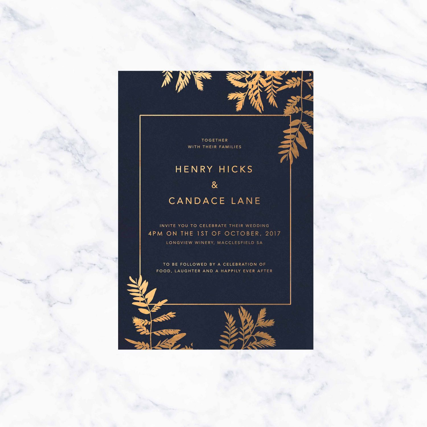 Navy Luscious Fern Foil Wedding Invitations Sail and Swan