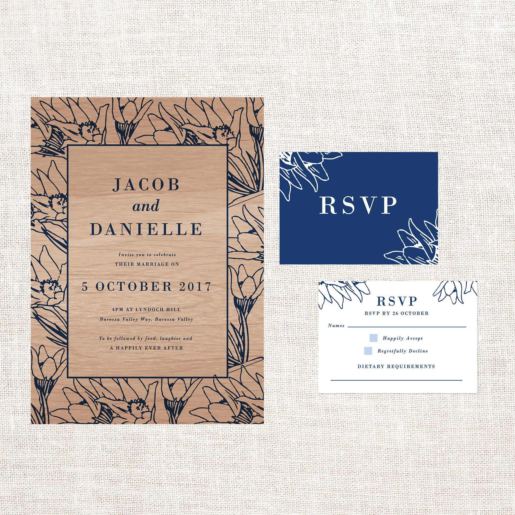 floral border wooden wedding invitations sail and swan studio