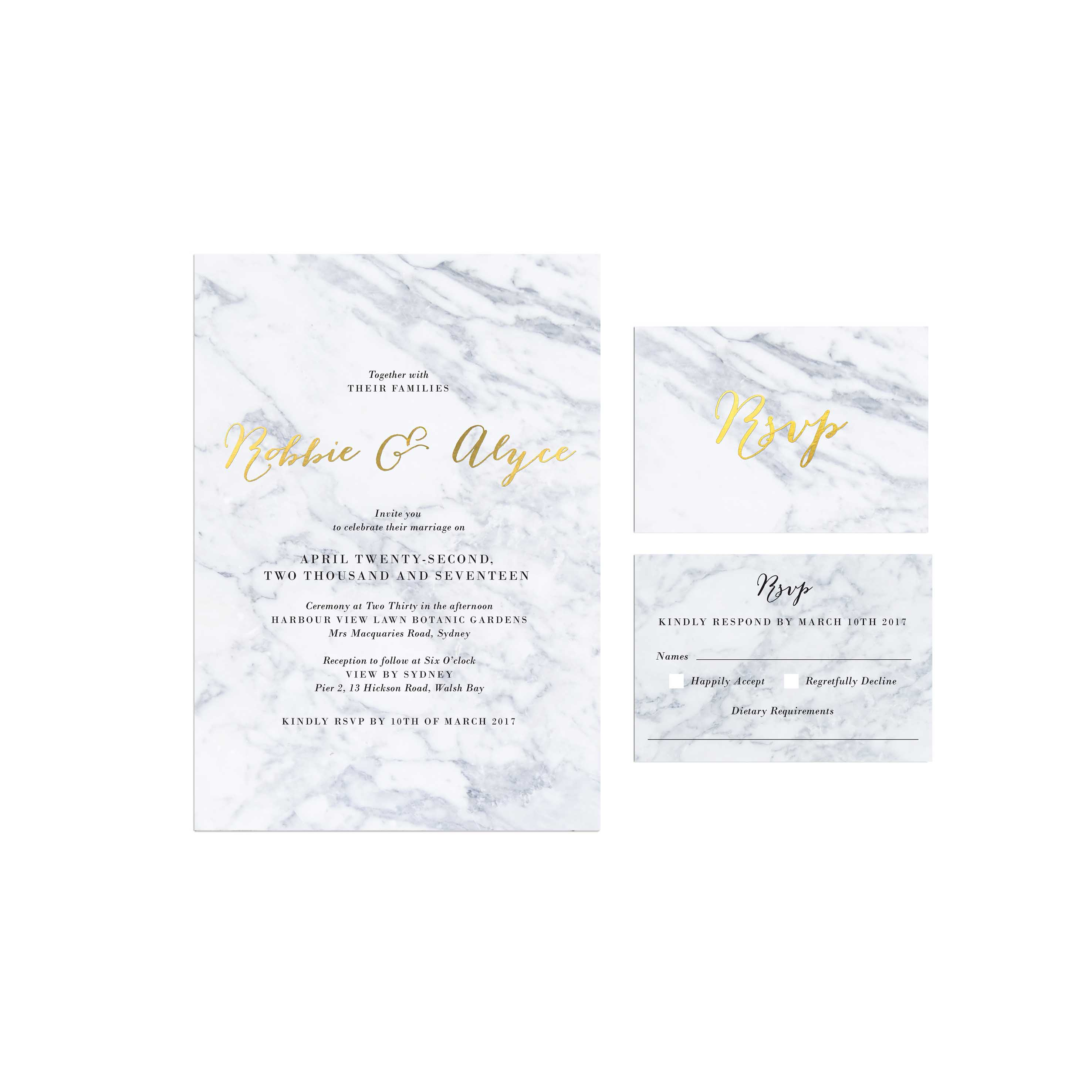 Gold Foil Marble Wedding Invitations - Sail and Swan