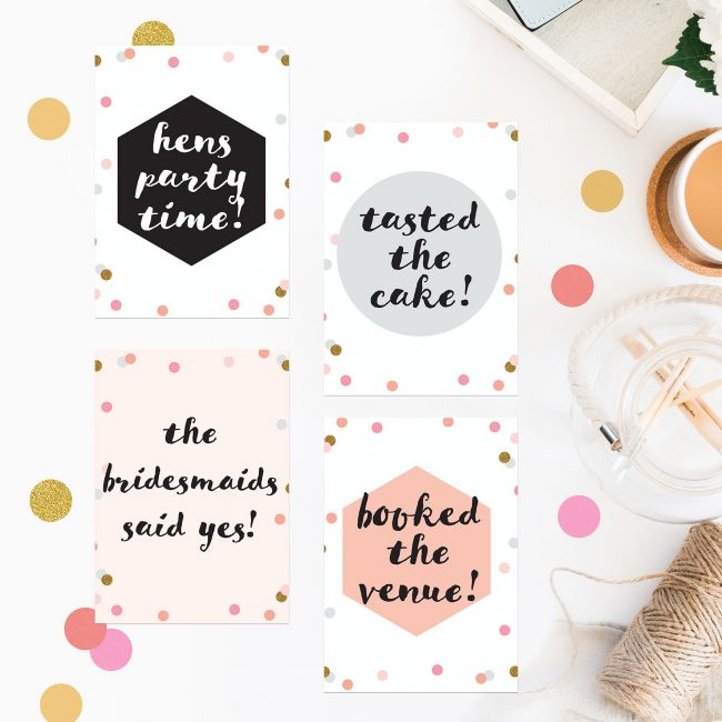 Confetti Wedding Milestone Cards Pink Peach White Black Cute Milestone Cards Sail and Swan Wedding Planning Milestones Bride to Be Gift Wedding Preparation Engagement Gifts