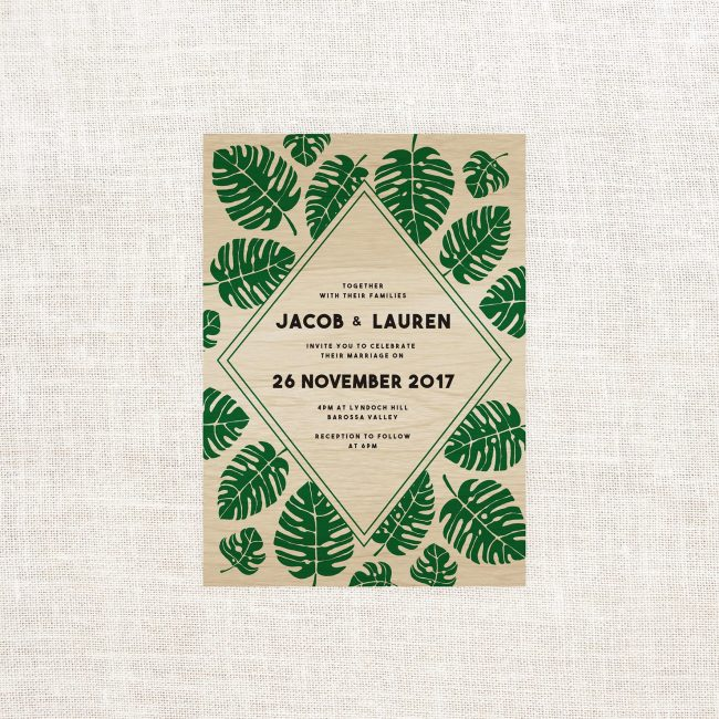 Jungle Leaves Wooden Wedding Invitations Green wood Grain Colour Wood Printing Custom Wedding Stationery Australia Monstera Leaves Foliage Botanical Modern Contemporary Garden