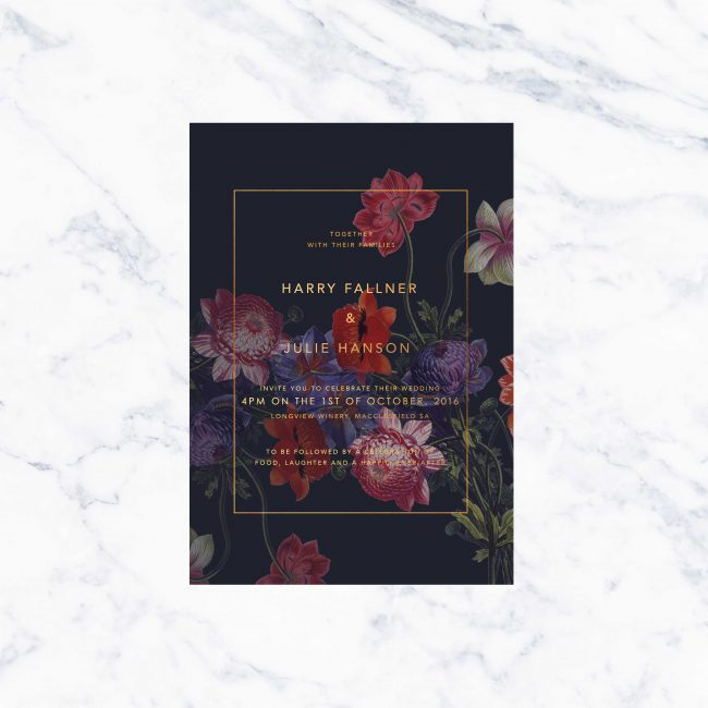 Dark Florals Moody Marsala Wedding Invitation Gold Foil Custom Wedding Stationery Australia Bespoke Designs Botanical Garden Wedding Luxe