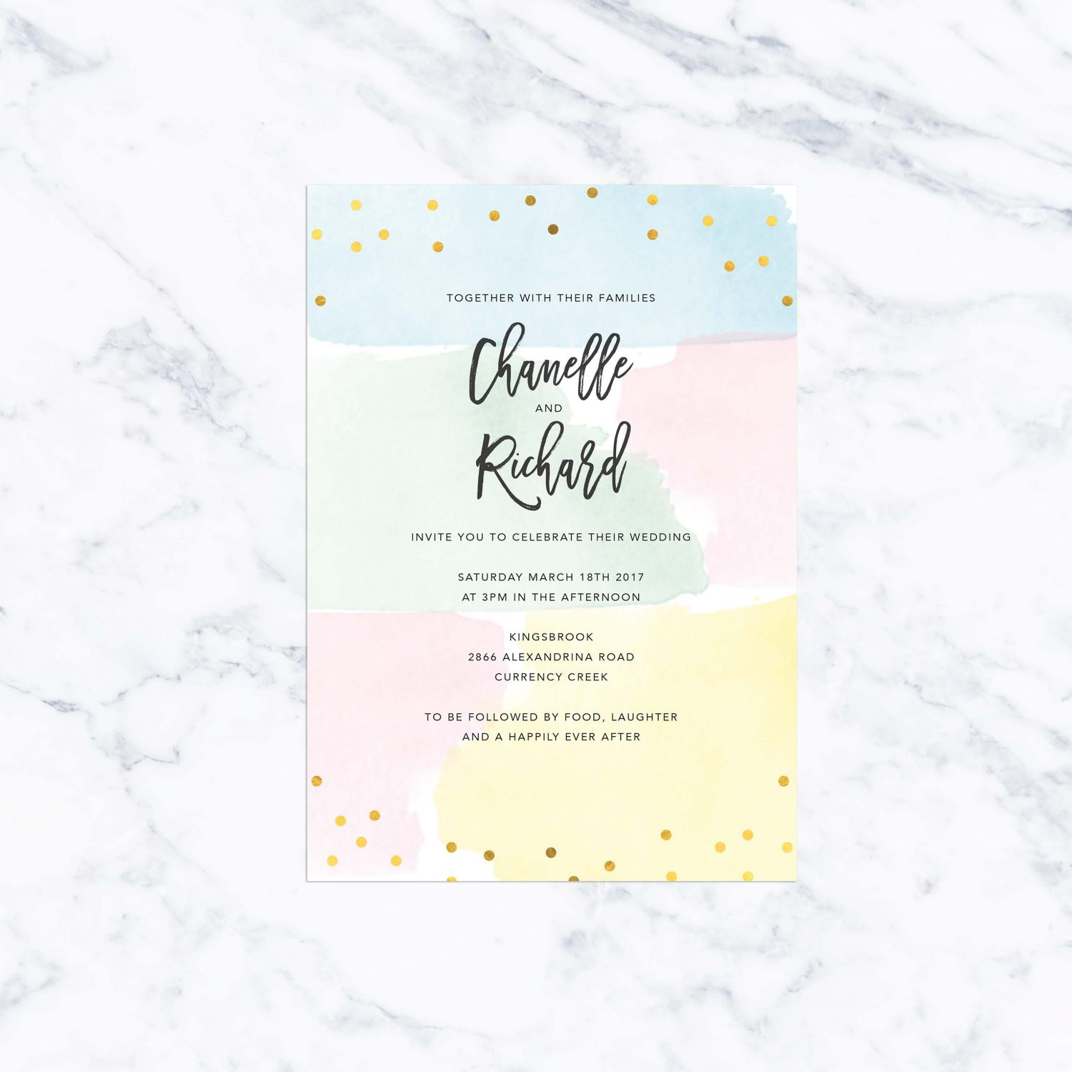 Pastel Confetti Gold Foil Wedding Invitations - Sail and Swan