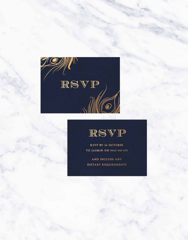 eacock Feather Foil Wedding Invitations