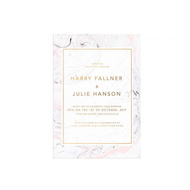 Pink Grey Marble Bronze Foil Wedding Invitations Foiling Gold Rose Gold Invites Australia Custom Wedding