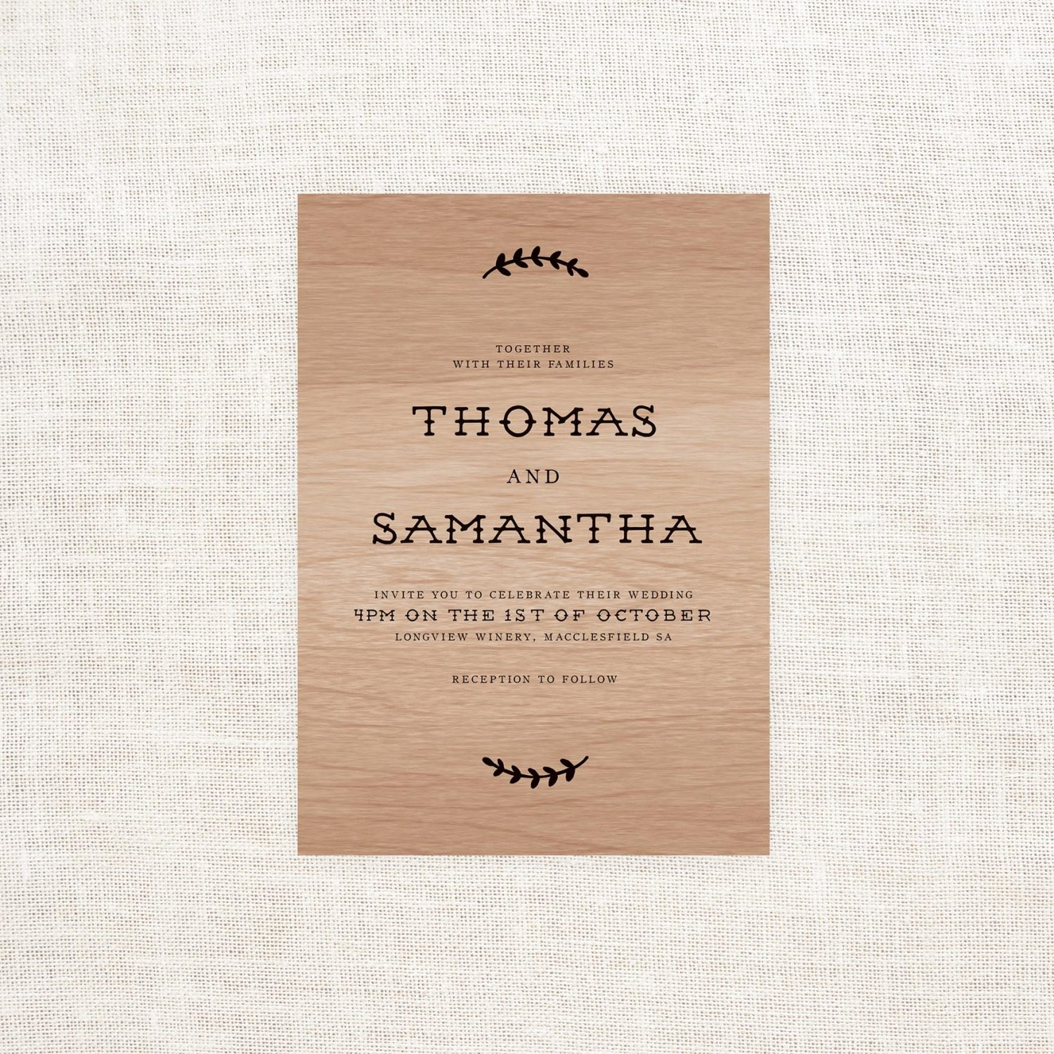 Wooden Wedding Invitations Sample Pack By Sail and Swan