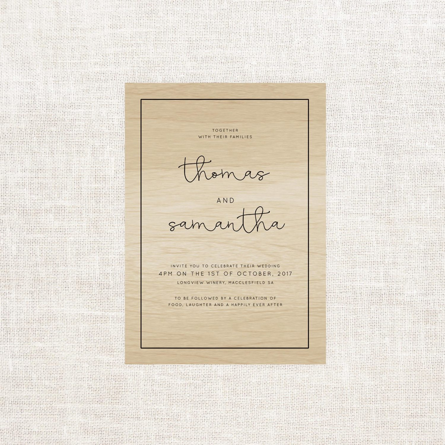 Simple Lines Wooden Wedding Invitations - Sail and Swan Studio