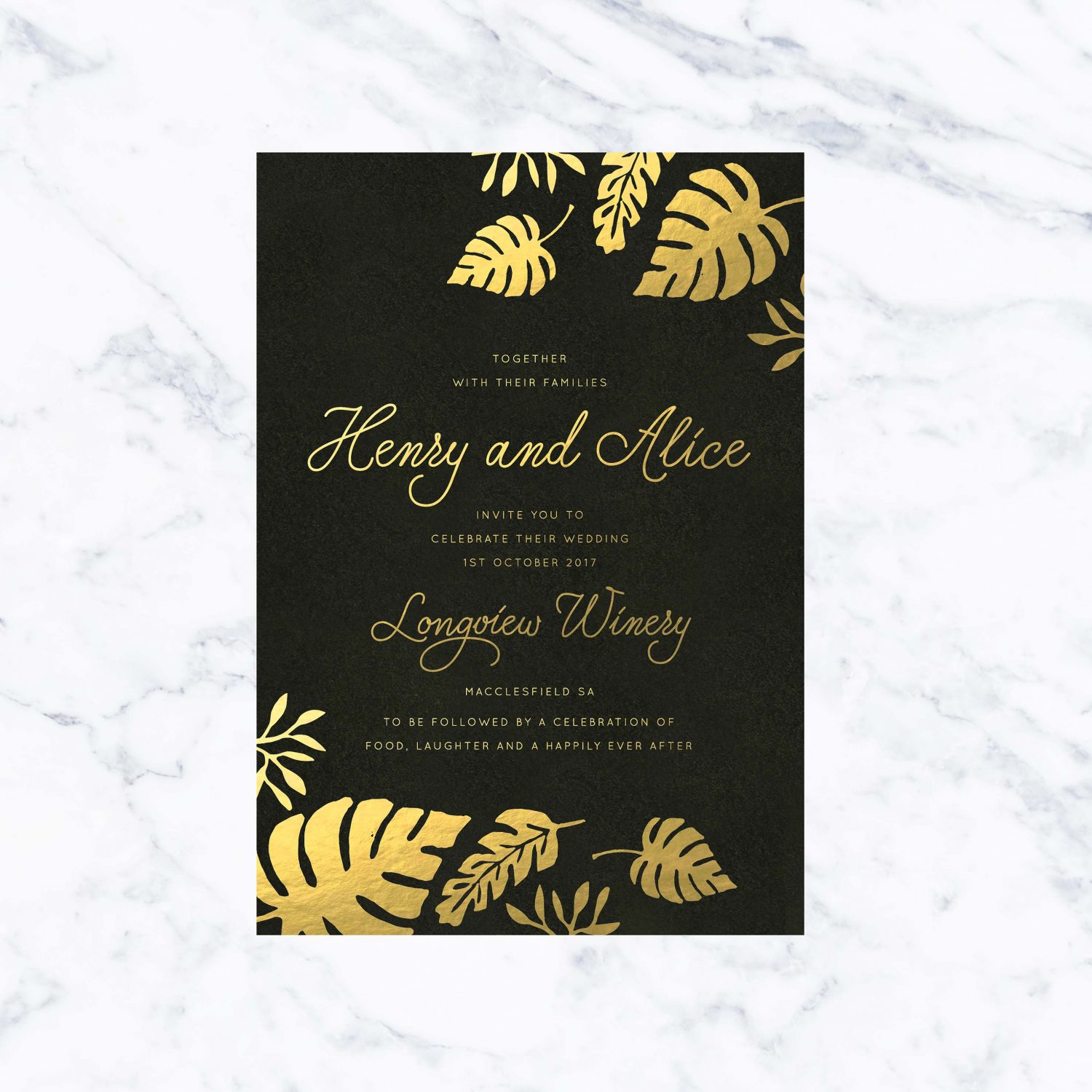 tropical gold foil wedding invitations