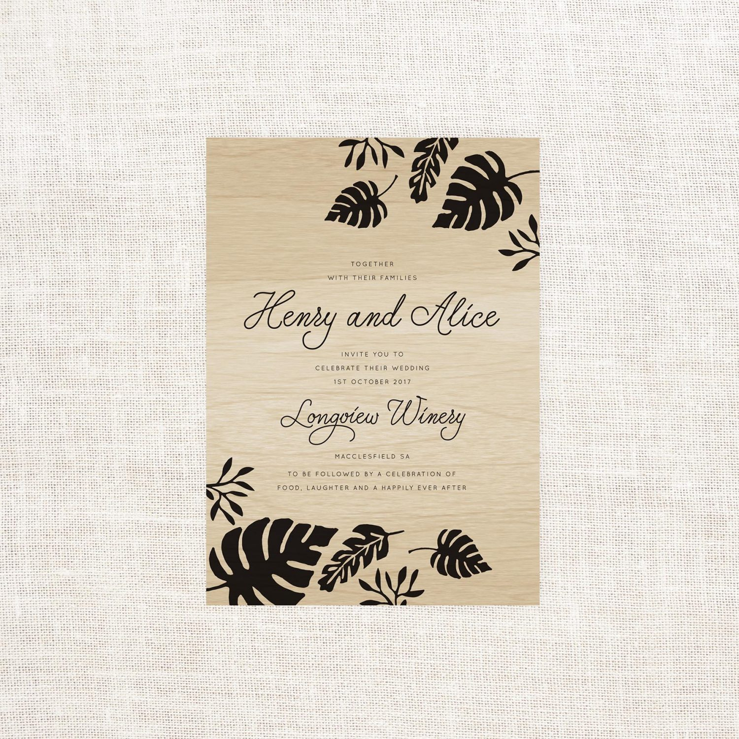 Tropical Wooden Wedding Invitations - Sail and Swan Studio
