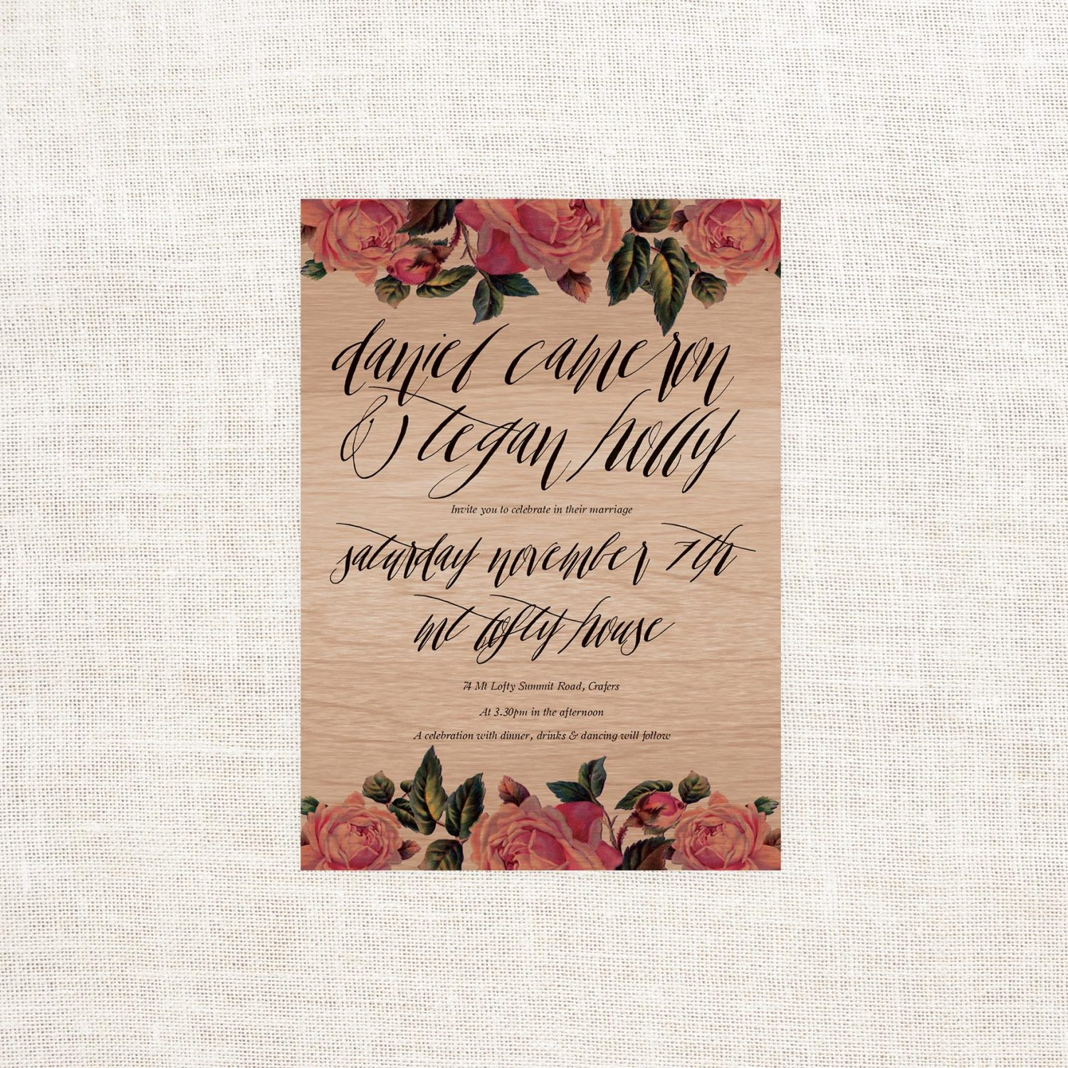 vintage floral wooden invitations sail and swan studio