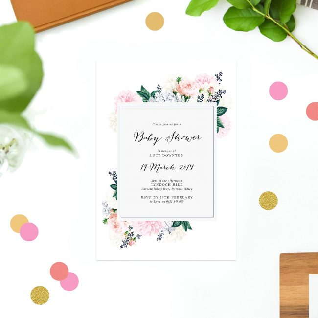 Baby shower invitations australia by sail and swan berry floral baby shower invitations vintage flowers bouquet calligraphy sail and swan australia adelaide melbourne sydney filmwisefo