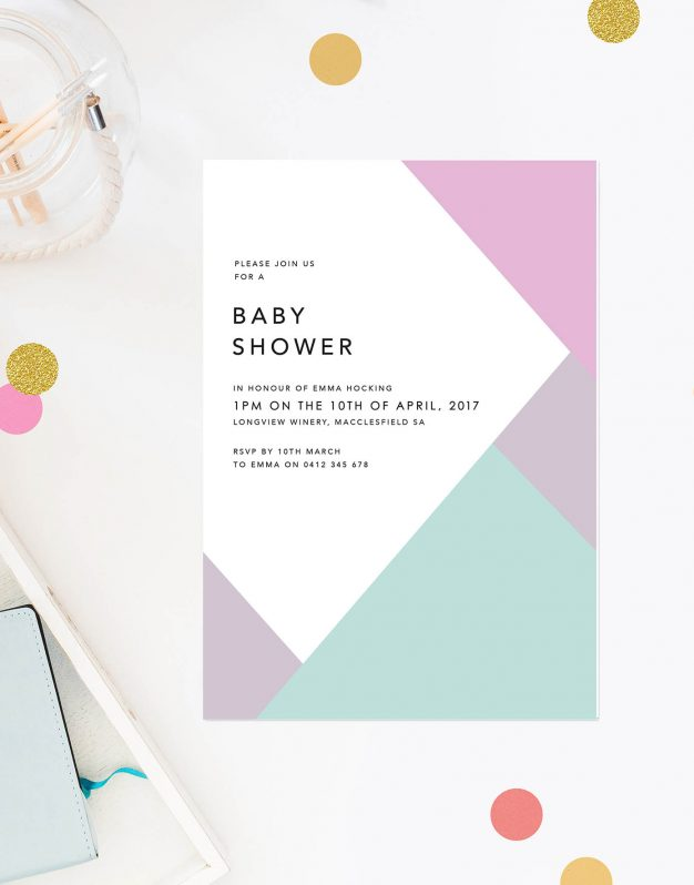 Geometric Pastels Girl Baby Shower Invitations Pink Purple Green Triangles Block Colours Simple Clean Contemporary Design Sail and Swan Australia Adelaide Melbourne Sydney Perth Queensland