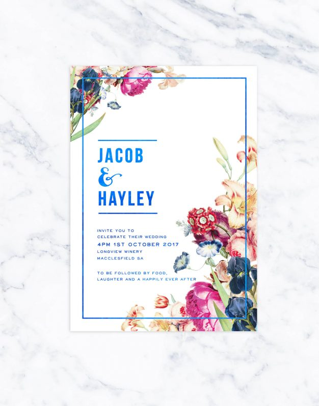 Garden Florals with Blue Foil Wedding Invitations Botanical Florals Metallic Foil Printing Custom Wedding Stationery Australia Sail and Swan