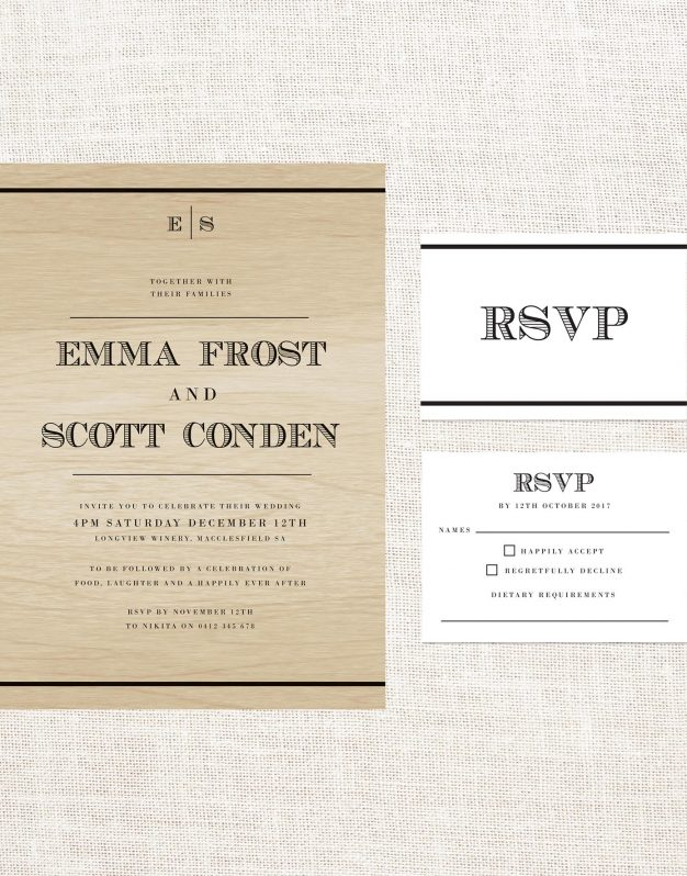 Bold Vintage Wooden Wedding Invitations Steampunk American Currency Nautical Old World Rustic Classic Historical Simple Clean Wood Grain Stationery Australia
