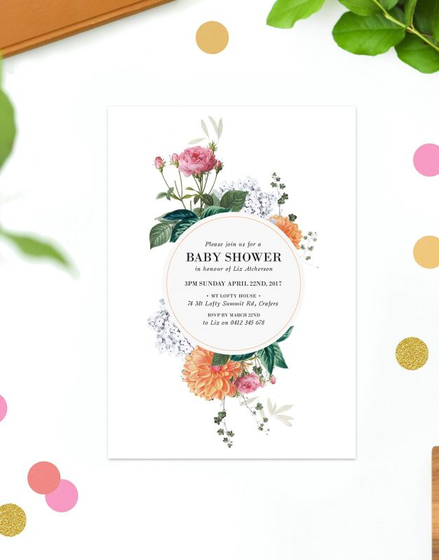 Clover Baby Shower Invitations Flowers Floral Botanical Pink Orange White Green Australia Gender Neutral Melbourne Adelaide Sydney Brisbane Perth Garden