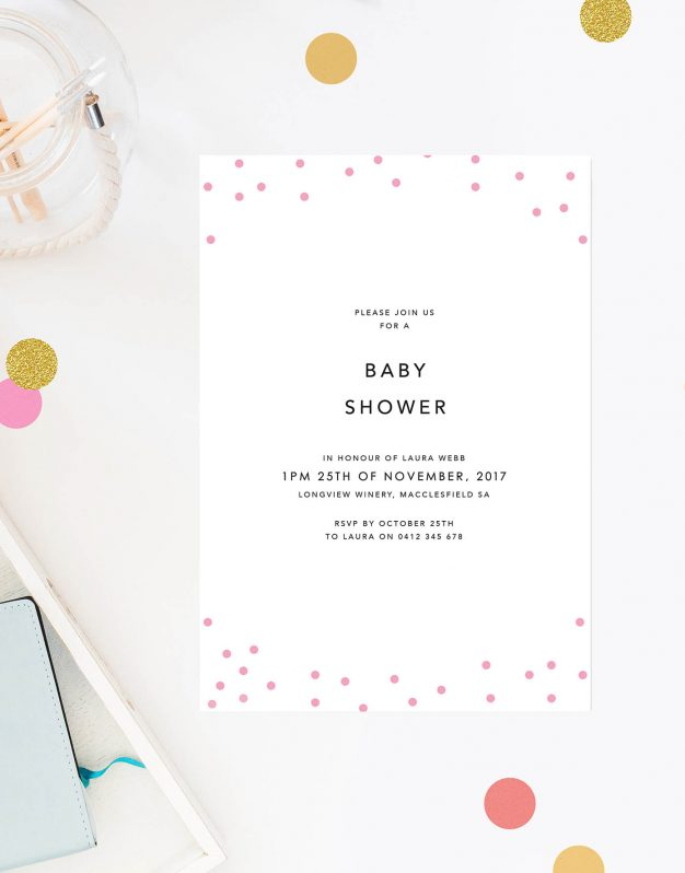 Pink Confetti Baby Shower Invites Cute Simple Modern Contemporary Baby Shower Invitations Australia Sydney Perth Melbourne Brisbane New Zealand Sail and Swan