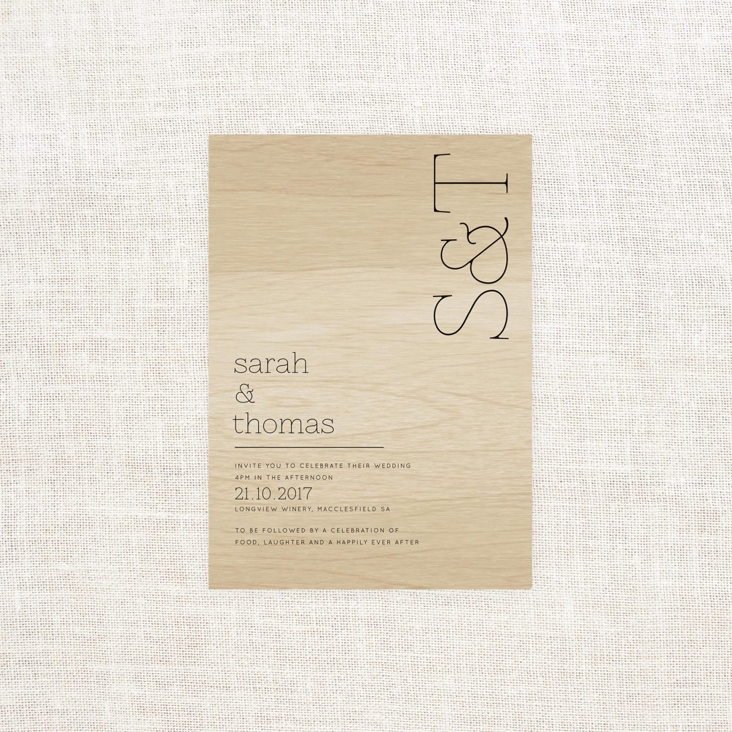 Initials Wooden Wedding Invitations - Sail and Swan Studio