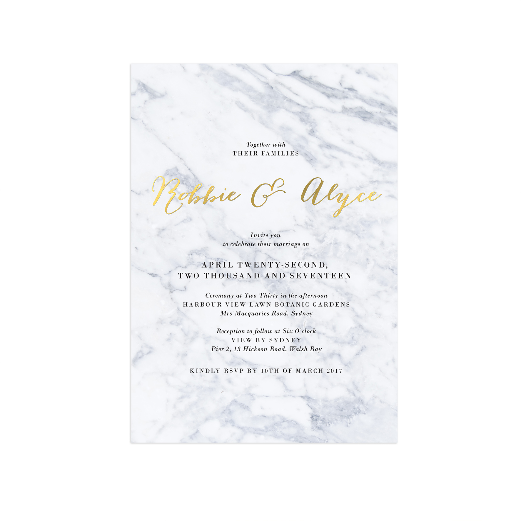 Embossed Wedding Invitations For A Exquisite Invitation Design With Layout 1 - Gold Foil Wedding ...