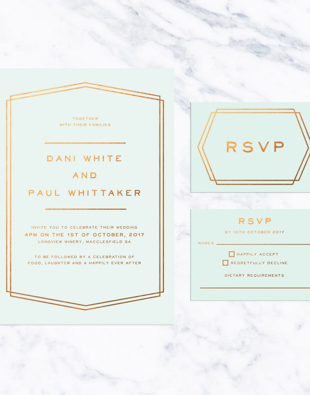 Mint and Bronze Foil Simple Border Wedding Invitations Lines Classic Contemporary Clean Custom Wedding Stationery Australia Pastel Sail and Swan Pale Green Duck Egg