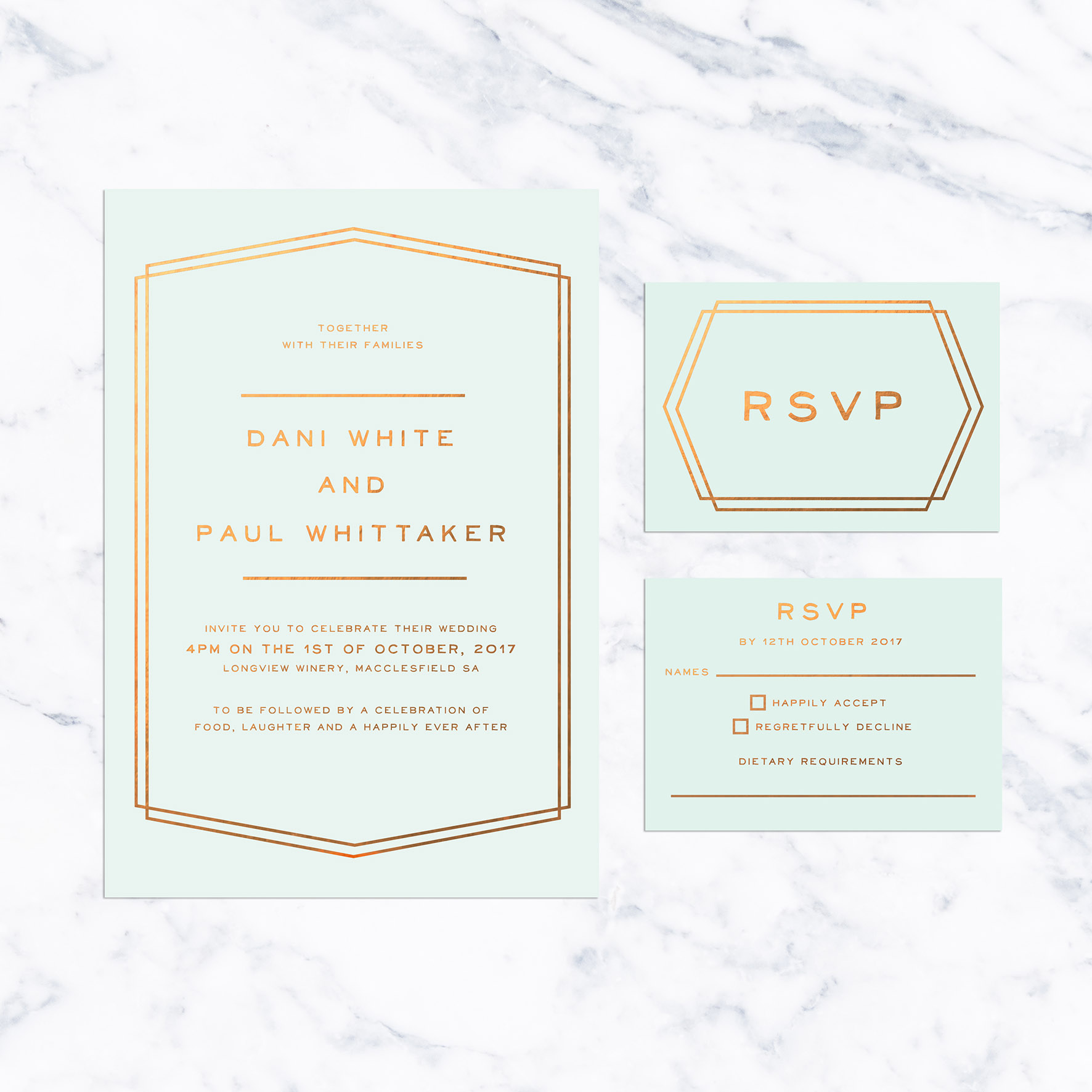 Mint and Bronze Foil Simple Border Wedding Invitations