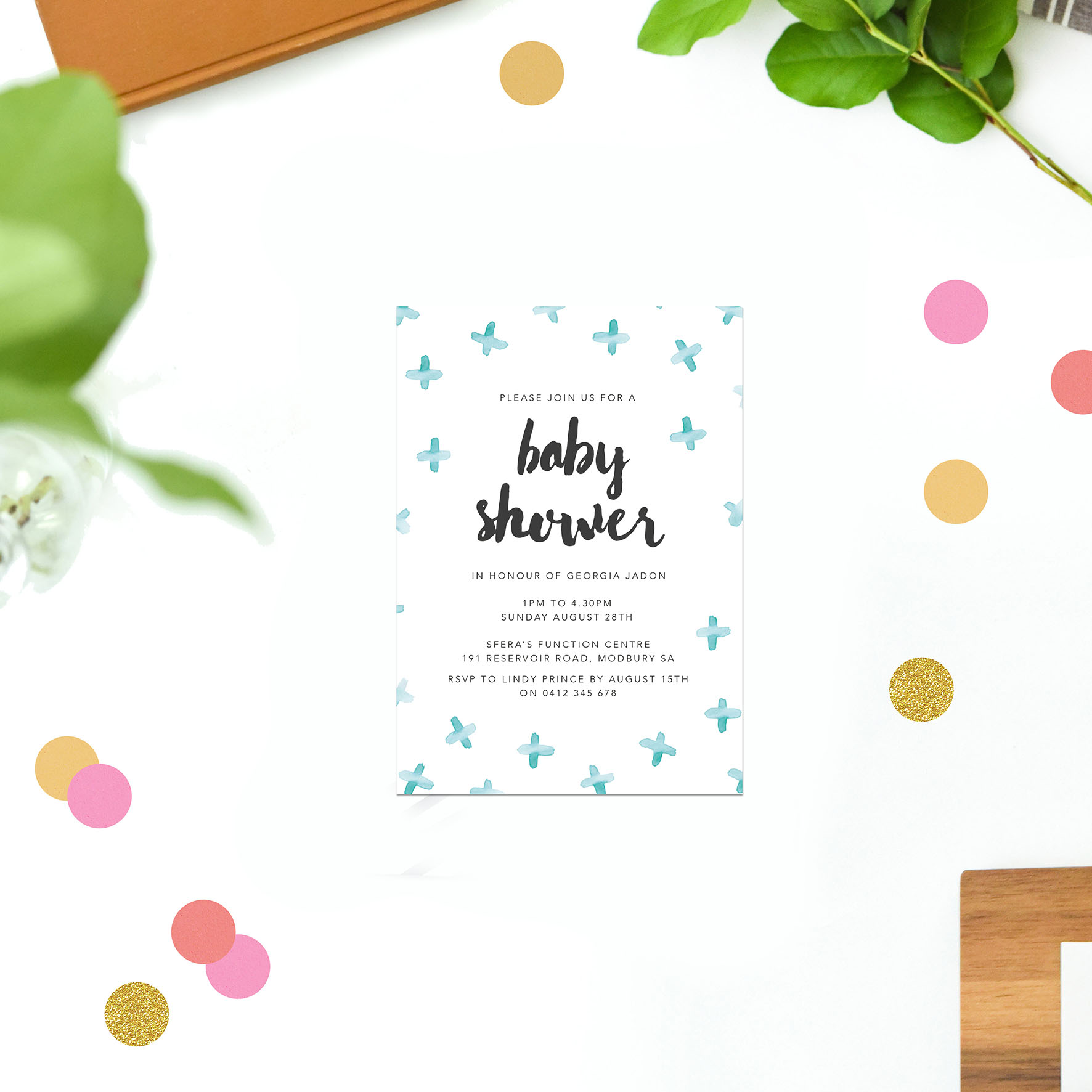 blue watercolour baby shower invitations sail and swan